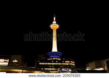 Kyoto japan october 23 2014 kyoto tower with dark sky in japan