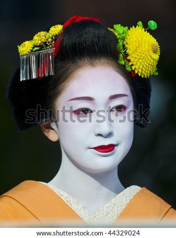 KYOTO, OCTOBER  22: a participant on The Jidai Matsuri (Festival of the Ages) held on October 22, 2009  in Kyoto, Japan . It is one of Kyoto's renowned three great festivals. - stock photo