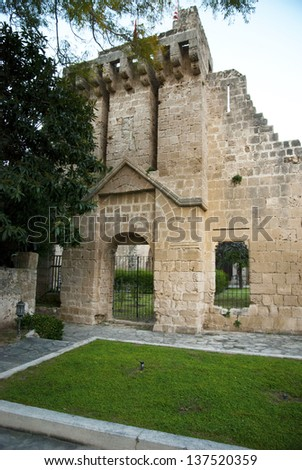 KYRENIA,NORTH CYPRUS-JANUARY 2013:Ruins of Bellapais Abbey in Kyrenia,Turkish Republic of Northern Cyprus on january 2013 - stock photo