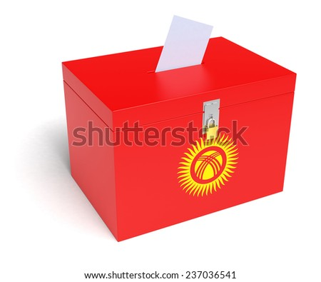 Kyrgyz Flag Ballot Box. Isolated white background. 3D Rendering. - stock photo