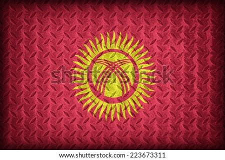 Kyrgyzstan flag pattern on the diamond metal plate texture ,vintage style - stock photo