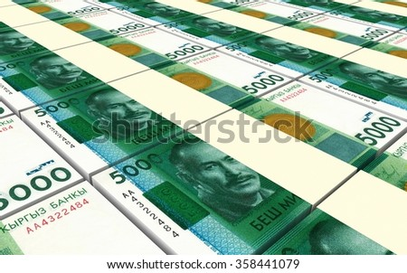 Kyrgyzstani som bills stacks background. Computer generated 3D photo rendering.