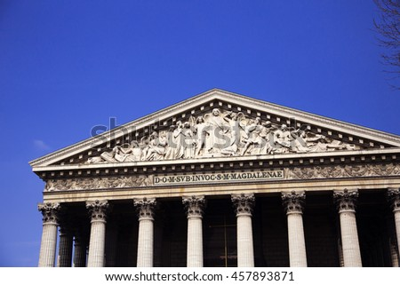 L'eglise de la Madeleine (translation: Madeleine Church) in Paris, France