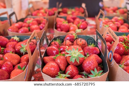 L'ISLE-SUR-LA-SORGUE, FRANCE - JUNE 22, 2017: Fresh organic strawberries for sale at local street market. Provence. France