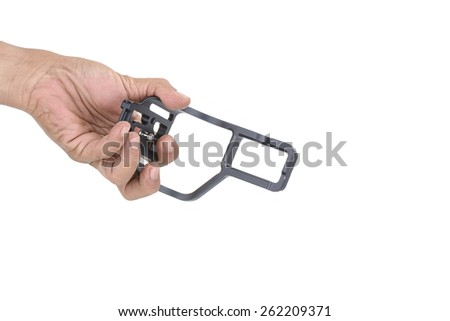 l-plate camera accessories in Male hand isolated on white background.