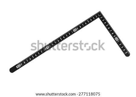 L shaped ruler isolated on white background - stock photo
