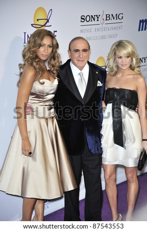 L to R: Leona Lewis, Clive Davis & Carrie Underwood at music mogul Clive Davis' annual pre-Grammy party at the Beverly Hilton Hotel. February 9, 2008  Los Angeles, CA Picture: Paul Smith / Featureflash - stock photo