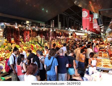 La Boqueria - famous market in Barcelona, next to the Ramblas. - stock photo