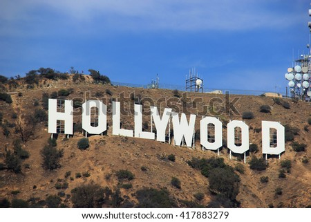 LA, CA, USA - November 10, 2014: The Hollywood Sign is a landmark and American cultural icon located on Mount Lee in the Hollywood Hills area of the Santa Monica Mountains in Los Angeles, California.  - stock photo