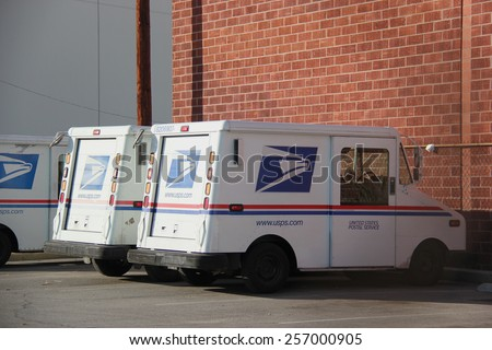 LA, CA, USA - November 22, 2014: The United States Postal Service or USPS, an independent agency of the U.S.federal government, is the operator of the largest civilian vehicle fleet in the world. - stock photo