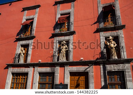 La Calavera Catrina Skeleton, balcony mexico city, mexico - stock photo