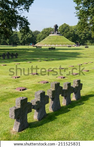 LA CAMBE, FRANCE: German Military Cemetery and Memorial at La Cambe, July 2014 in Normandy, France. Over 21.000 German fallen soldiers of World War 2 are buried here. - stock photo
