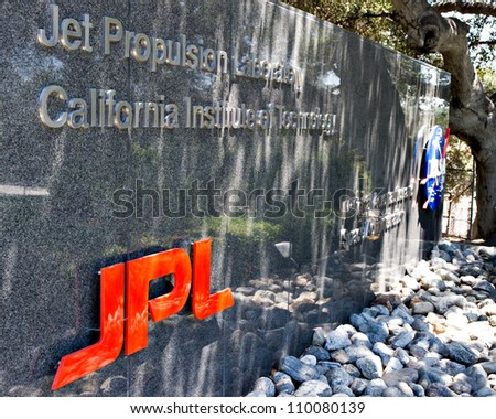LA CANADA, CA - AUGUST 13: The entrance to NASA's Jet Propulsion Laboratory in La Canada, CA on August 13, 2012. NASA recently landed the Mars Science Laboratory on the surface of Mars. - stock photo