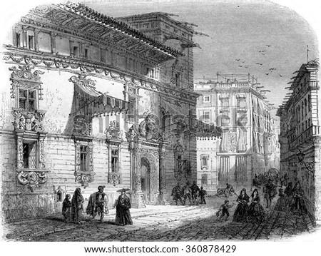 la casa de gralla on the place de courcelles in barcelona vintage engraved