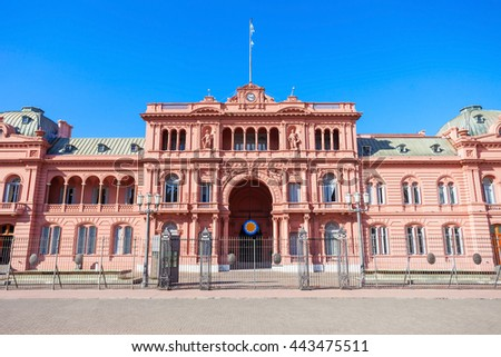 La Casa Rosada or The Pink House is the executive mansion and office of the President of Argentina, located in Buenos Aires, Argentina - stock photo