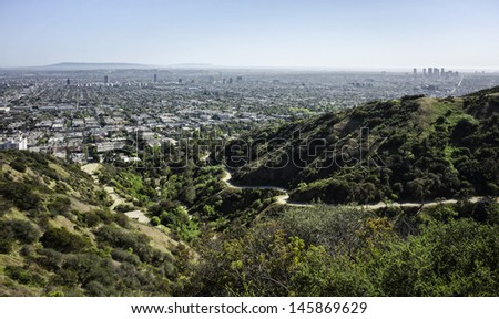 LA city downtown from mountains - stock photo