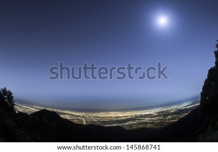 LA city overview at night - stock photo
