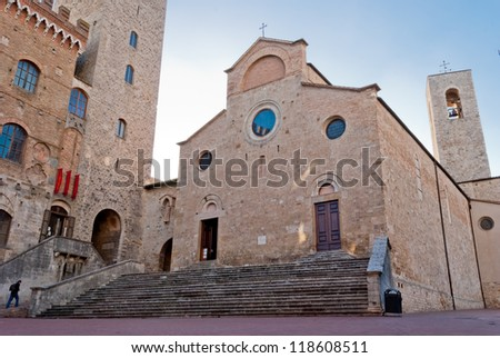 La Collegiata cathedral, San Gimignano, Tuscany - stock photo