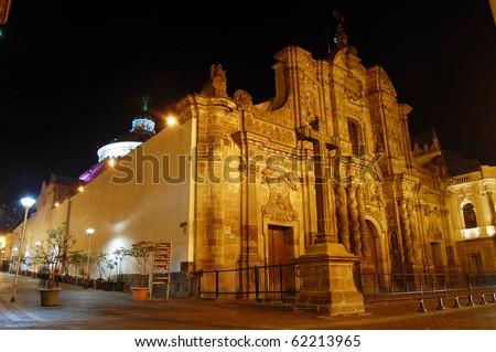 La Compania Church at night in downtown Quito, Ecuador - stock photo