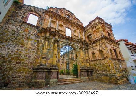 La Compania church in casco viejo district, in Panama . - stock photo