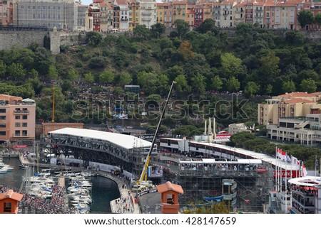 La Condamine, Monaco - May 28, 2016: Many Spectators in the Tribunes and People on Yachts For the Monaco Formula 1 Grand Prix 2016 - stock photo