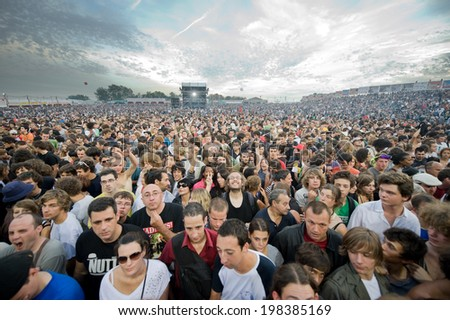 LA COURNEUVE, FRANCE - SEPTEMBER 16, 2011 -  Crowd waiting during a concert - stock photo