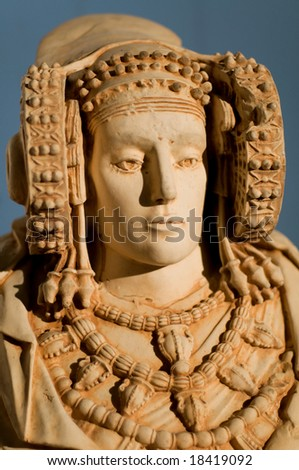 La Dama de Elche / Lady of Elche is the most important polychrome piece of Iberian art. Produced in the fourth century B.C. although or date it to the Hellenistic or Roman periods. - stock photo