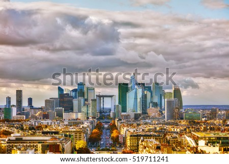 La Defense business district aerial view in Paris, France