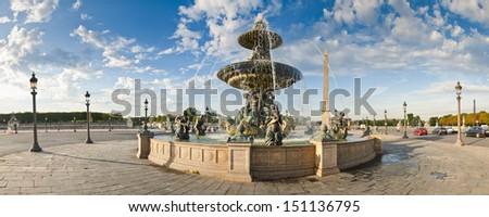 La Fontaine des Fleuves (1835) fountain at the popular Place de la Concord, Paris. - stock photo