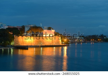 La Fortaleza (The Fortress) at night, San Juan, Puerto Rico. La Fortaleza is the official residence of Governor of Puerto Rico, which is also called Palacio de Santa Catalina (Santa Catalina's Palace) - stock photo