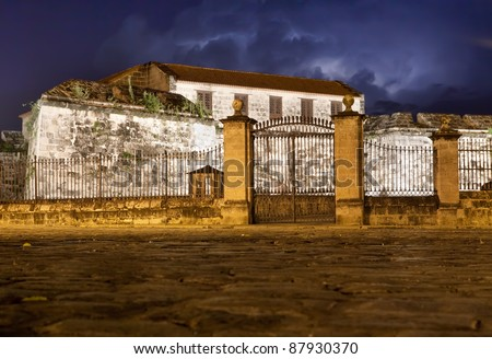 La Fuerza Castle, a landmark of Old Havana, illuminated at night - stock photo