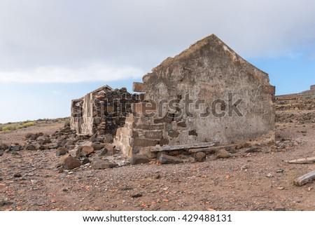 LA GOMERA, SPAIN - JANUARY 31. On the trail to Arure. Inscription and names carved on a wall of a collapsed and abandoned farm house on the tableland La Merica on La Gomera on January 31, 2016 - stock photo