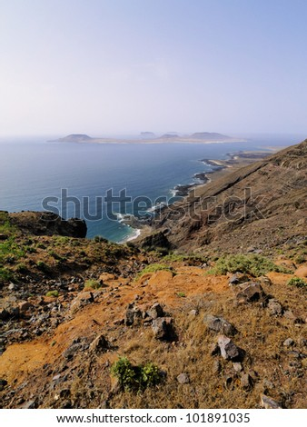 La Graciosa, view from Lanzarote, Canary Islands, Spain - stock photo