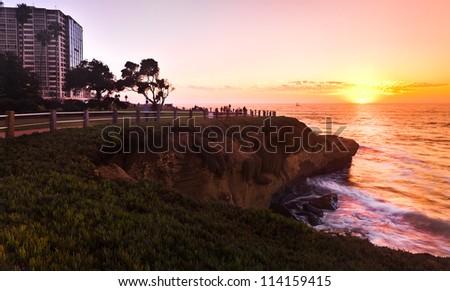 La Jolla San Diego Southern California Coast, Colorful Sunset - stock photo