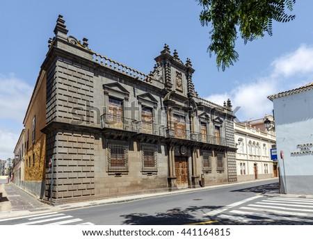 La Laguna, Spain - August 15, 2015: Palacio de Nava, palatial building in the Plaza del Adelantado in La Laguna. Example of Canarian architecture that combines Baroque, Neoclassical and Mannerist - stock photo