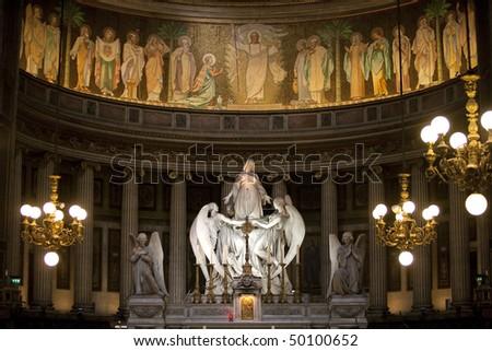 La Madeleine Church near the Concorde, Paris - stock photo