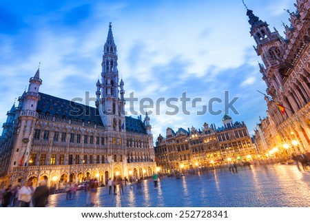 La Meuse et l'Escaut on Grand Place at night in Brussels, Belgium - stock photo