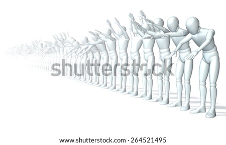 La Ola - the applause in the stadium wave, perspective - La ola, applauding, line of people, figures forming a wave, perspective (frontal)3d rendering isolated on white background - stock photo