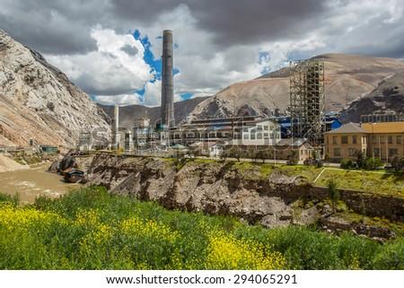 LA OROYA, PERU - CIRCA 2014: View of La Oroya mineral refinery circa 2014 in La Oroya, Peru. - stock photo