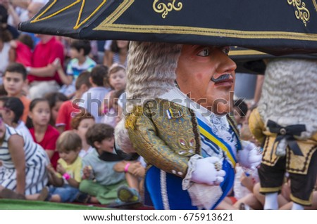LA PALMA, CANARY ISLANDS - JULY 12, 2015: Image in detail of a dwarf, dancing and jumping at the festival of the virgin, in the city of Santa Cruz de la Palma
