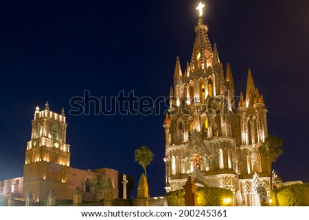 La Parroquia (Church of St. Michael the Archangel) in the historic city of San Miguel de Allende in Mexico - stock photo
