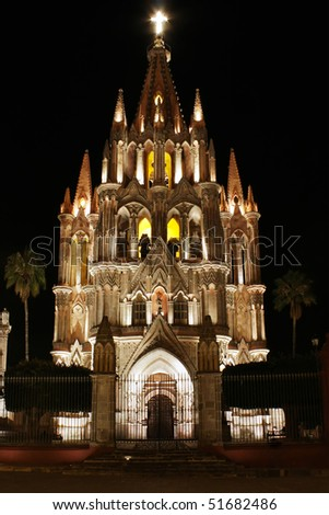 La Parroquia (Church of St. Michael the Archangel) in the historic Mexican city of San Miguel de Allende. - stock photo