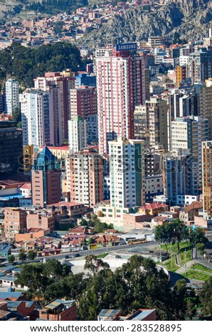 LA PAZ, BOLIVIA - APR 5, 2015: Cityscape of La Paz in Bolivia