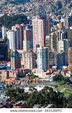 LA PAZ, BOLIVIA - APR 5, 2015: Cityscape of La Paz in Bolivia - stock photo