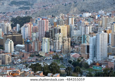 LA PAZ, BOLIVIA - August 26, 2016: Panorama of La Paz, Bolivia on August 26, 2016. La Paz, in Bolivia, is the highest administrative capital in the world
