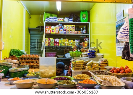 LA PAZ, BOLIVIA Circa March 2015: looking inside a small street restaurant in la paz - stock photo