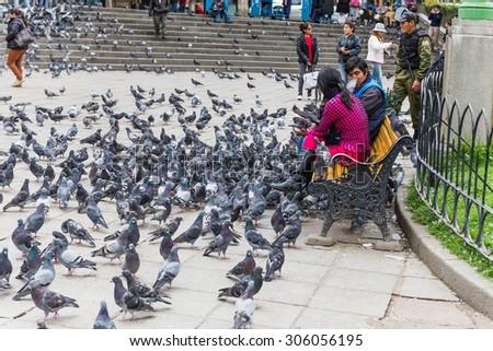 LA PAZ, BOLIVIA Circa March 2015: many doves in a park in la paz - stock photo