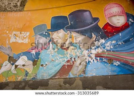 LA PAZ, BOLIVIA, JANUARY 3: Graffiti of Bolivian lifestyle painted on a wall by unknown artist. Bolivia 2015 - stock photo