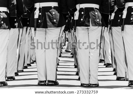 LA PAZ, BOLIVIA March 23, 2015: Soldiers standing in a row during a military parade at the Dia Del Mar Square in La Paz, Bolivia  - stock photo