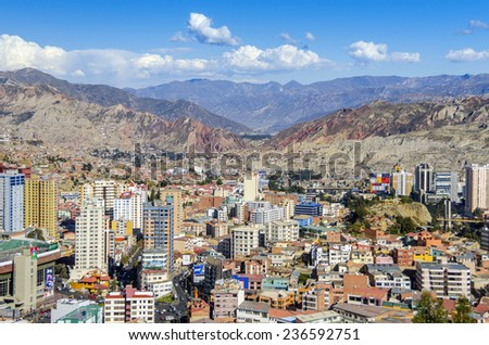 LA PAZ, BOLIVIA, MAY 8, 2014: General view of city from a view point - stock photo